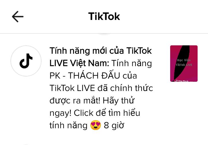 PK đại chiến thách đấu nay đã có trên TikTok Live